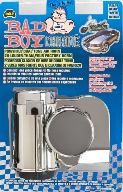 "horns has all the same features as the original bad boy â""¢ bright chrome plated finish is a step up letting the vehicle stand out in chrome the diagrams"